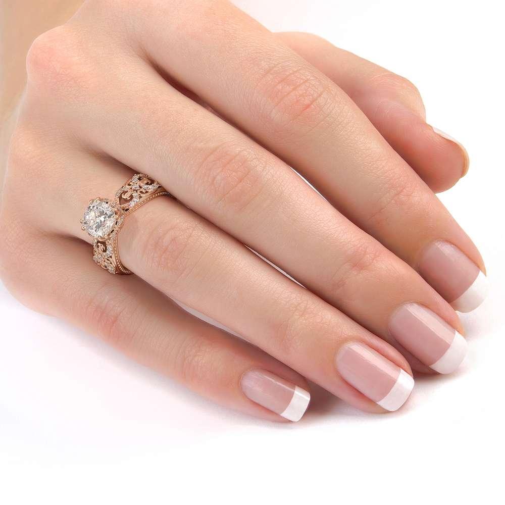 Vintage Engagement Ring 14K White Gold Ring Filigree Ring Moissanite Engagement Ring