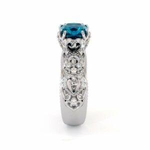 Vintage Engagement Ring 14K White Gold Ring Topaz Engagement Ring