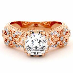 Vintage Engagement Ring 14K Rose Gold Ring Filigree Ring Moissanite Engagement Ring