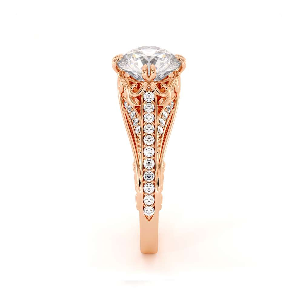 Unique Engagement Ring Moissanite Ring Rose Gold Art Deco Engagement Ring