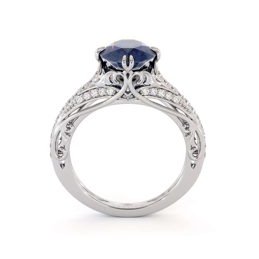 Blue Sapphire Engagement Ring 14K White Gold Ring Unique Art Deco Engagement Ring