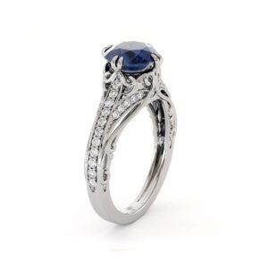 Blue Sapphire Engagement Ring 14K White Gold Ring Unique Art Deco Engagement Ring