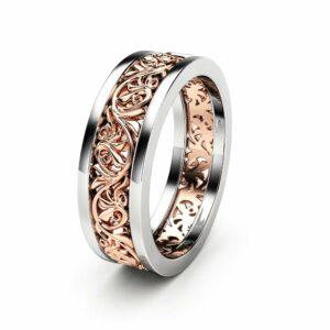 Unisex Wedding Band Unique 14K Two Tone Gold Ring Unique Wedding Band Ring For Him For Her