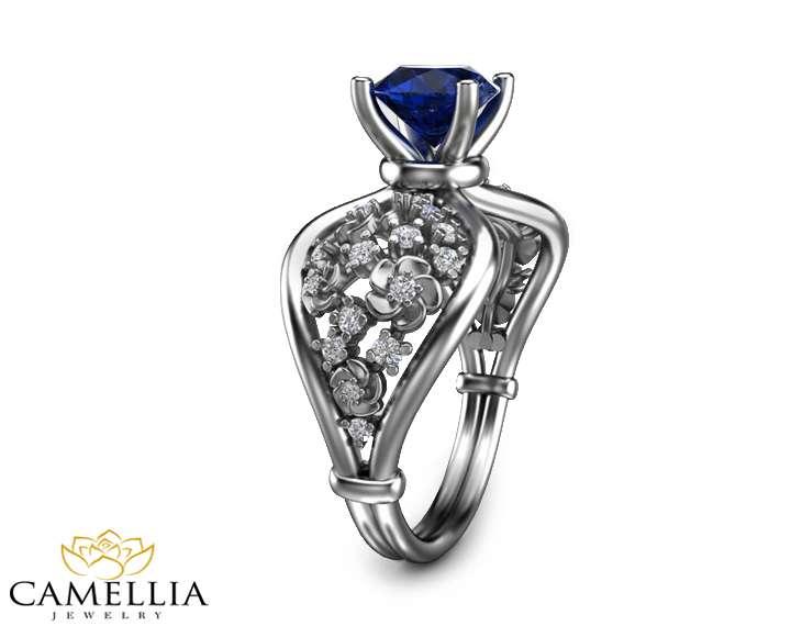 Blue Sapphire Engagement Ring 14K White Gold Floral Ring Natural Sapphire Ring Unique Engagement Ring