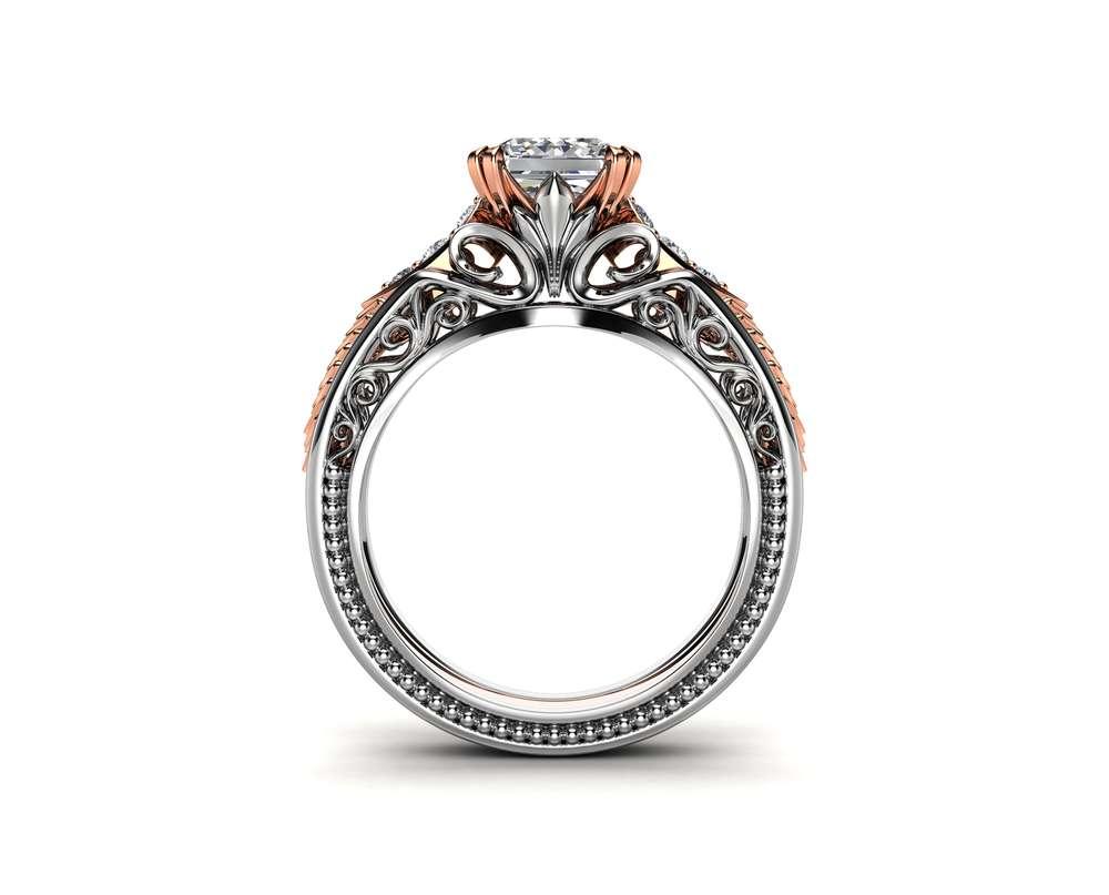 Moissanite Engagement Ring Princess Cut Ring 14K Two Tone Gold Vintage Engagement Ring
