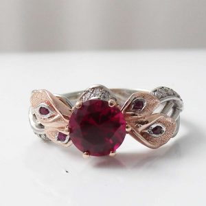 Calla Lily Ruby Engagement Ring Unique Natural Ruby Ring 14K Two Tone Gold Engagement Ring
