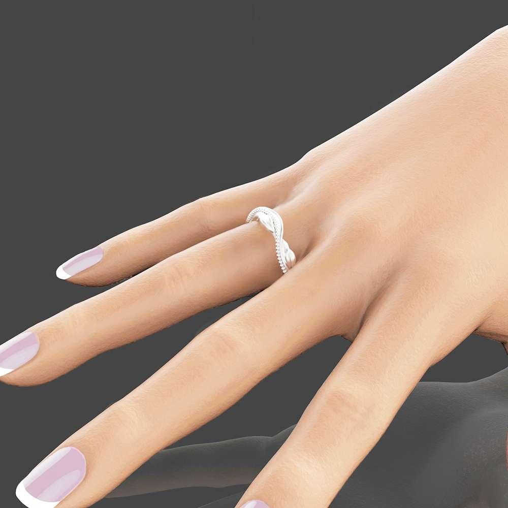 Eternity 14K White Gold Wedding Ring Leaf Wedding Band White Gold Bridal Band