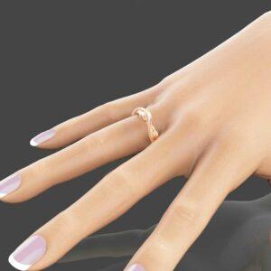 Eternity 14K Rose Gold Wedding Ring Leaf Wedding Band Rose Gold Bridal Band