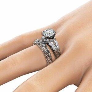 Unique Moissanite Engagement Rings 14K White Gold Ring Set 2Ct. Forever One Moissanite Rings Unique Art Deco Bridal Ring Set
