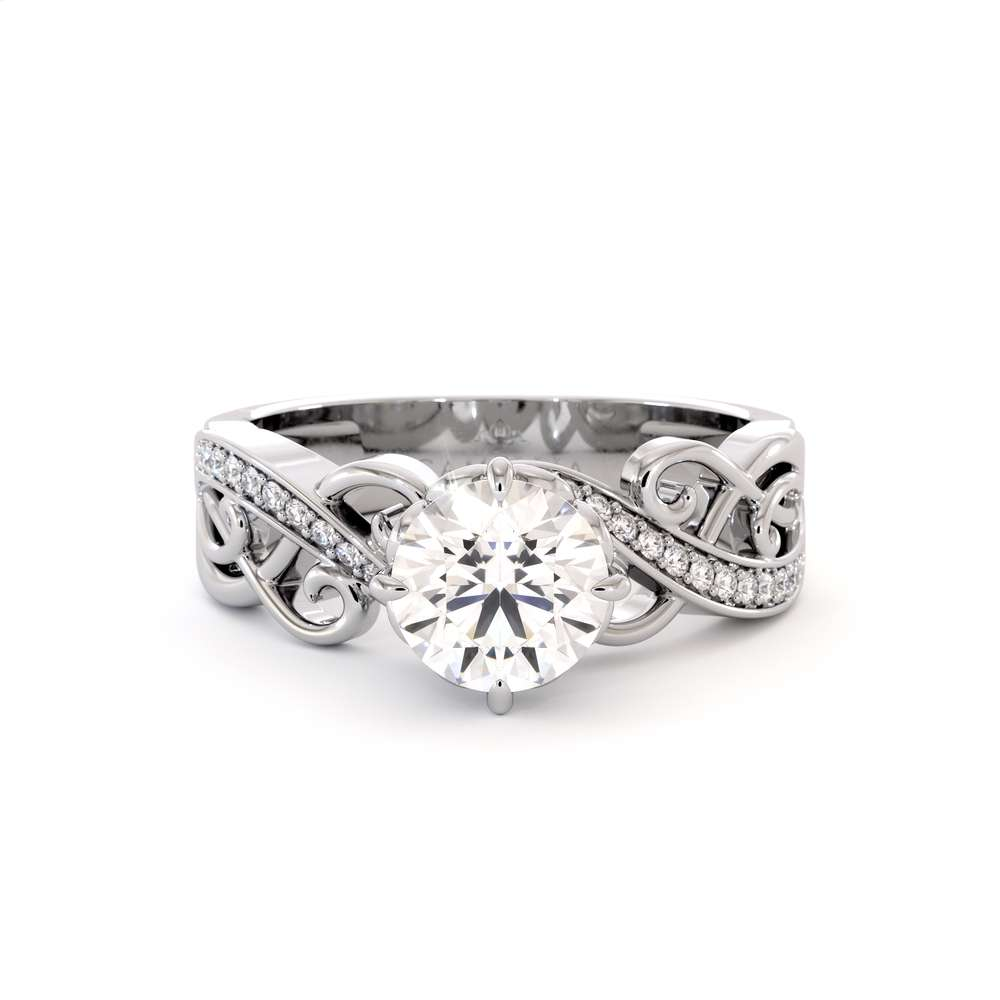 Unique Engagement Ring White Gold Engagement Ring Moissanite Filigree Ring