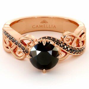 Black Diamond Engagement Ring Rose Gold Engagement Ring Unique Filigree Ring