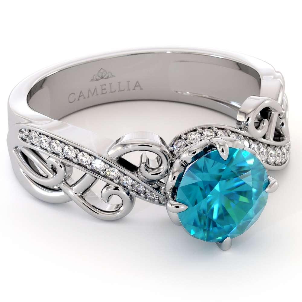 Blue Diamond Engagement Ring White Gold Engagement Ring Unique Filigree Ring