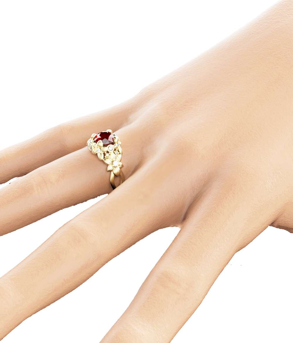 Ruby Floral Engagement Ring 14K Yellow Gold Floral Ring Unique Ruby Engagement Ring Art Nouveau Styled Ring