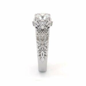 Cushion Moissanite Ring White Gold Engagement Ring Moissanite Engagement Ring