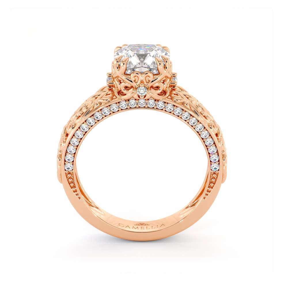 Cushion Moissanite Ring Rose Gold Engagement Ring Moissanite Engagement Ring