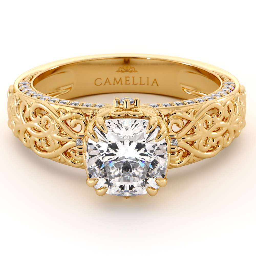 Cushion Moissanite Ring Yellow Gold Engagement Ring Moissanite Engagement Ring