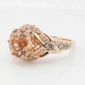 14K Rose Gold Morganite Engagement Ring -Art Deco Engagement Ring-2ct Morganite Engagement Ring