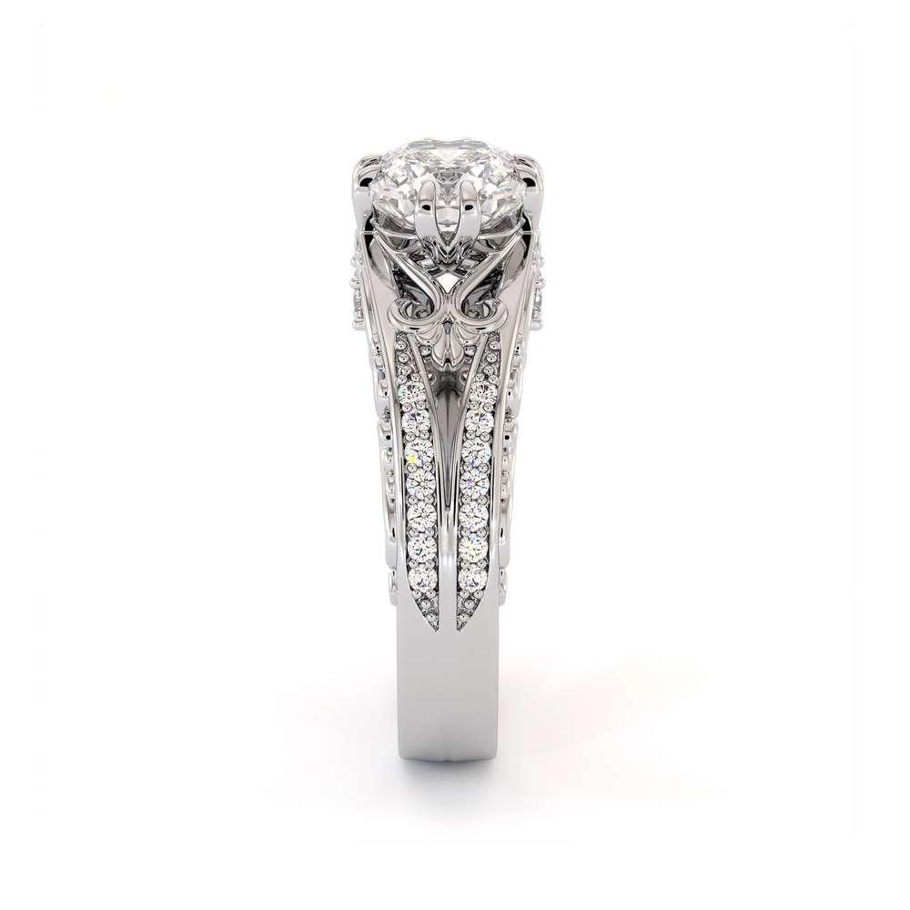Unique Engagement Ring Cushion Moissanite Engagement Ring 14K White Gold Ring