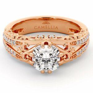 Unique Engagement Ring Cushion Moissanite Engagement Ring 14K Rose Gold Ring