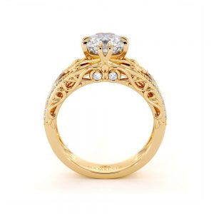 Unique Engagement Ring Cushion Moissanite Engagement Ring 14K Yellow Gold Ring