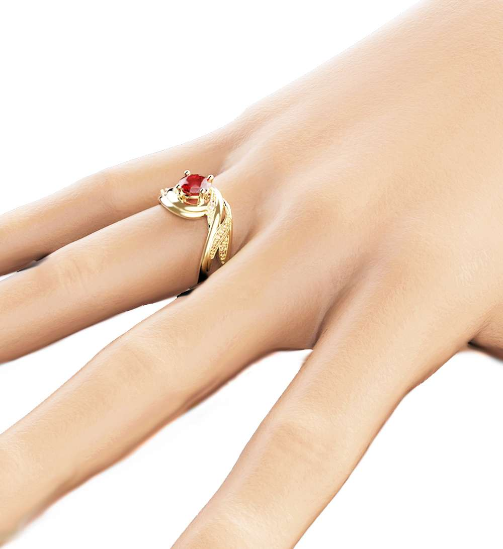 14K Yellow Gold Ruby Engagement Ring Round Cut Natural Ruby Ring Unique Engagement Ring