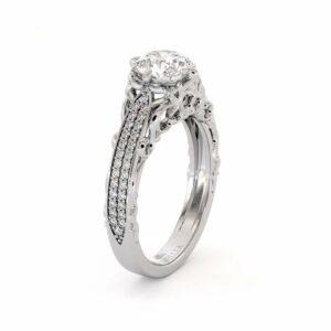Vintage Engagement Ring 14K White Gold  Ring  Moissanite Engagement Ring
