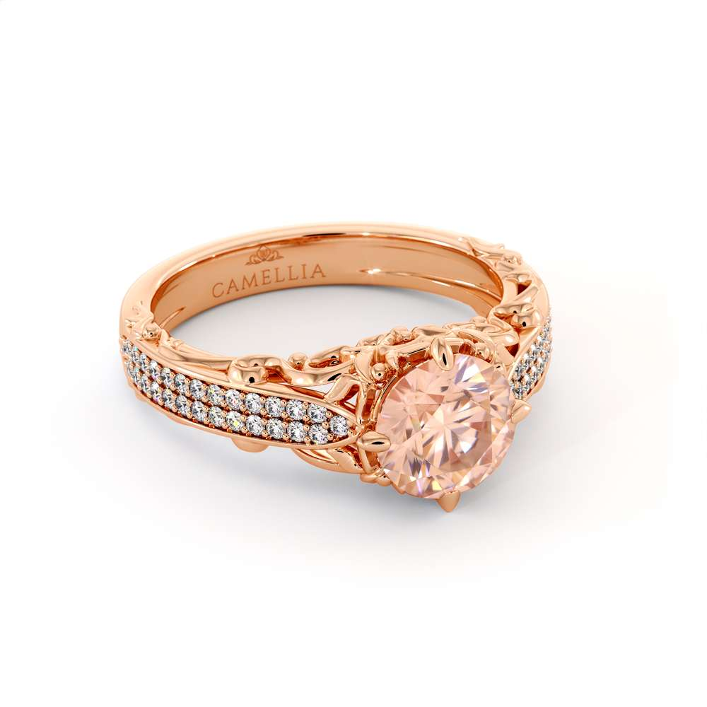 Vintage Engagement Ring 14K Rose Gold  Ring  Morganite Engagement Ring
