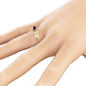 14K Yellow Gold Ruby Engagement Ring Natural Ruby Ring Unique Branch Engagement Ring Anniversary Band