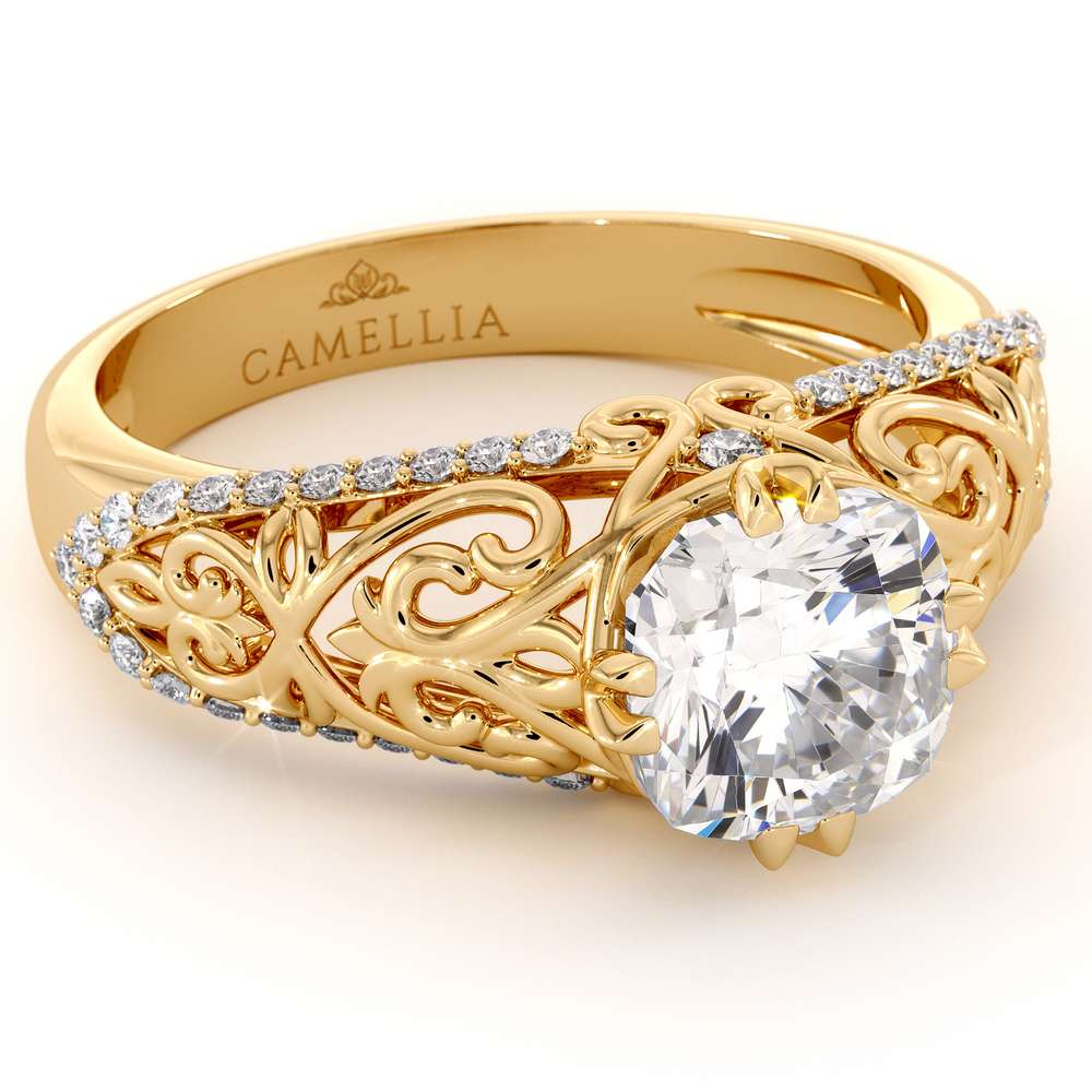 Unique Filigree Engagement Ring 14K Yellow Gold Filigree Ring Charles Colvard Moissanite Engagement Ring