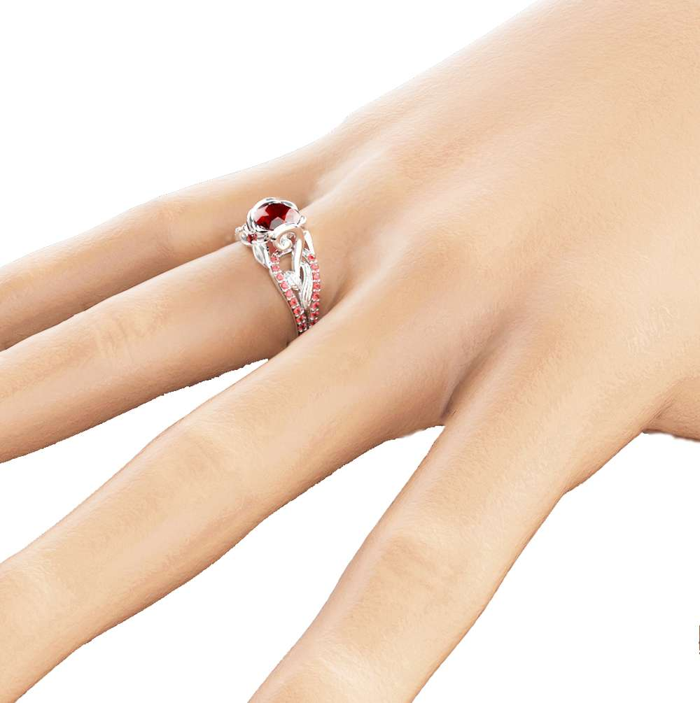 Natural Ruby Wedding Engagement Ring Unique 14K White Gold Wedding Ring Ruby Engagement Ring July Birthstone Ring