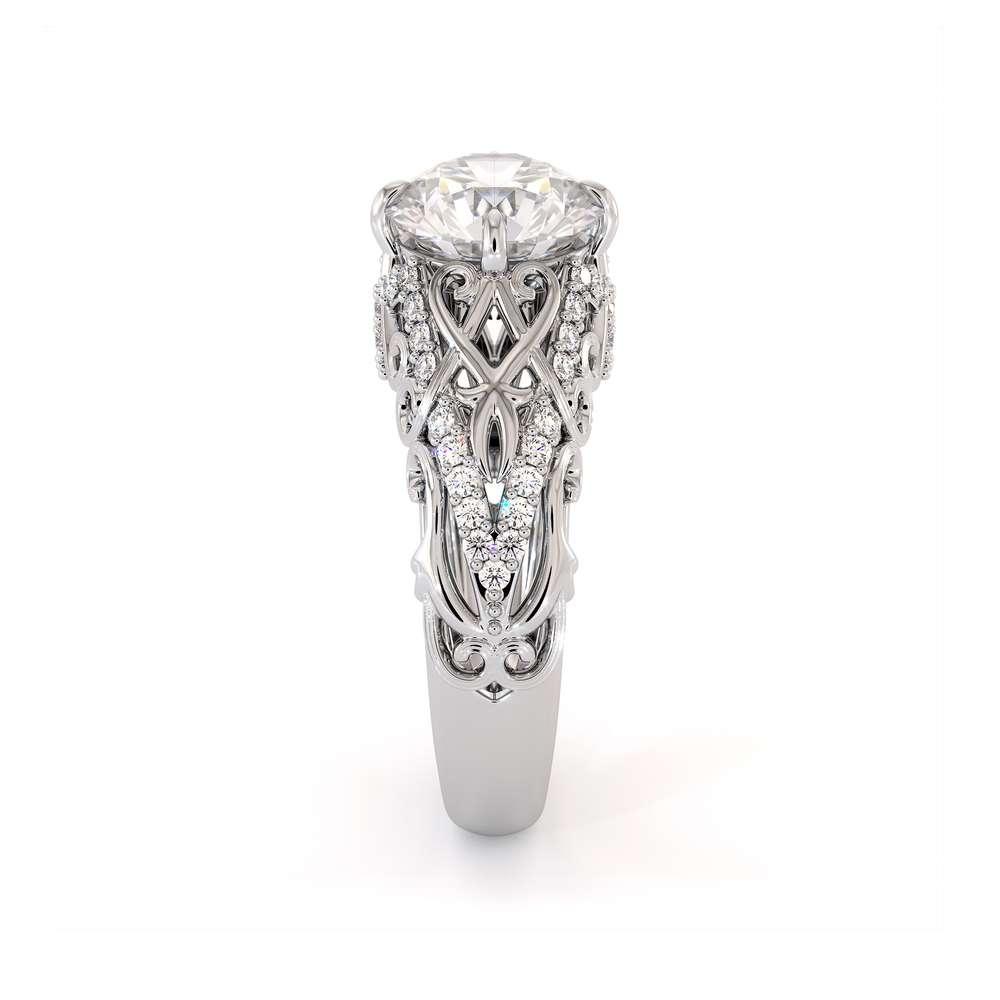 Unique Filigree Engagement Ring 14K White Gold Filigree Ring Charles Colvard Moissanite Engagement Ring