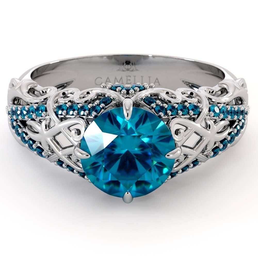 Unique Engagement Ring 14K White Gold Ring Blue Diamond Engagement Ring