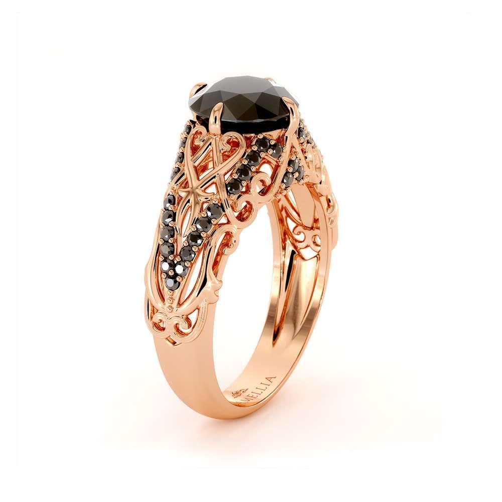 Black Diamond Engagement Ring 14K Rose Gold Ring Unique Engagement Ring