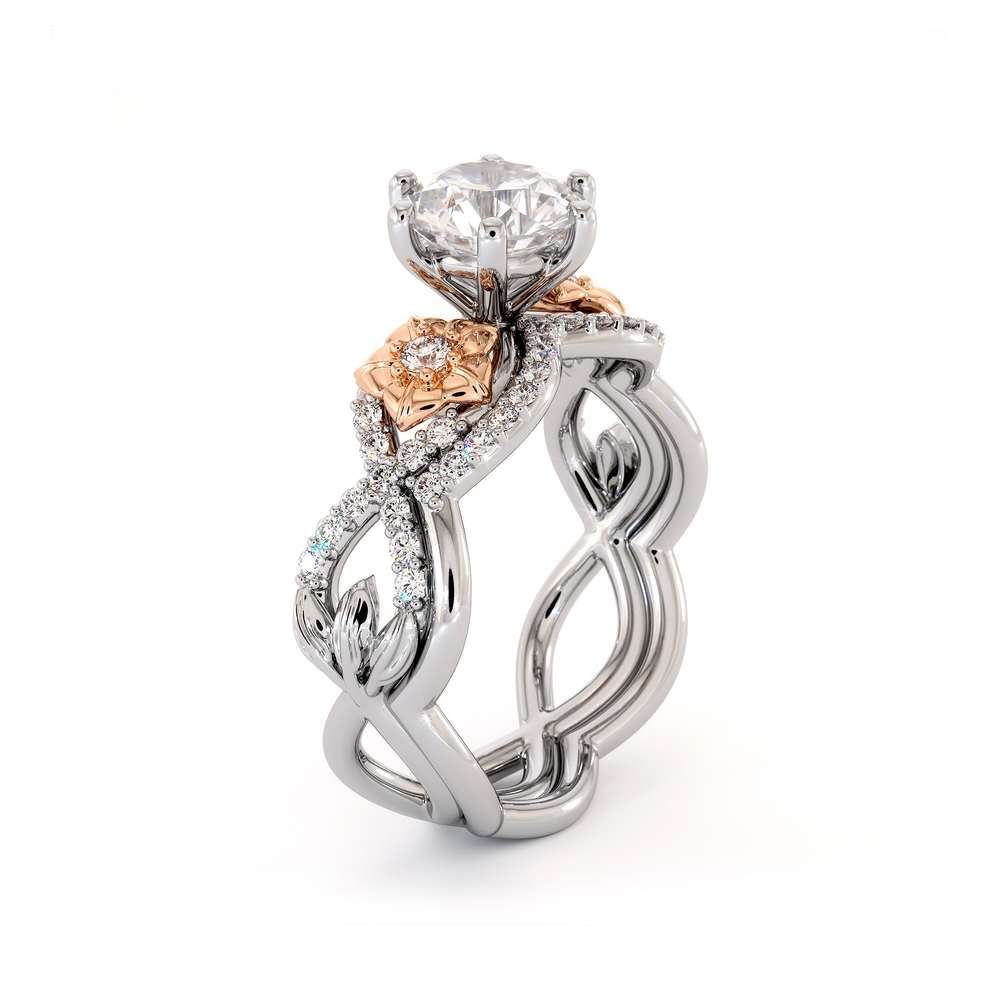 Moissanite Engagement Ring 14K White & Rose Gold Ring Flower Engagement Ring