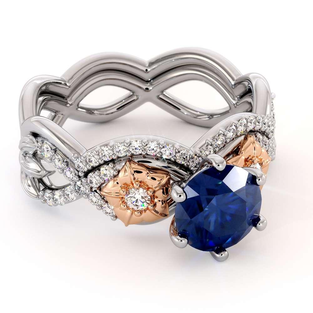 Blue Sapphire Engagement Ring Set 14K White & Rose Gold Ring Flower Engagement Ring