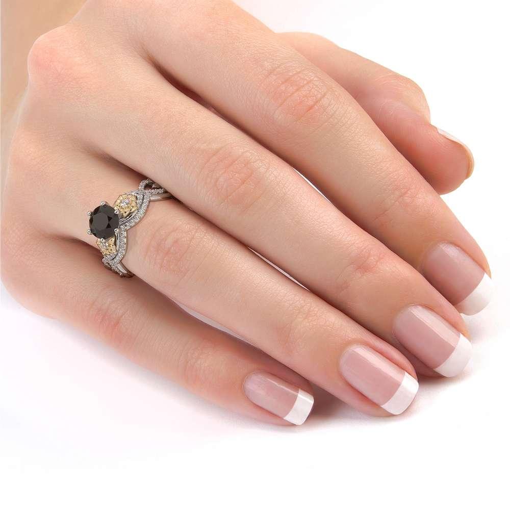 Black Diamond Engagement Ring Set 14K Gold Ring Flower Engagement Ring