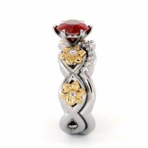 Ruby Engagement Ring Set 14K White Gold Ring Flower Engagement Ring