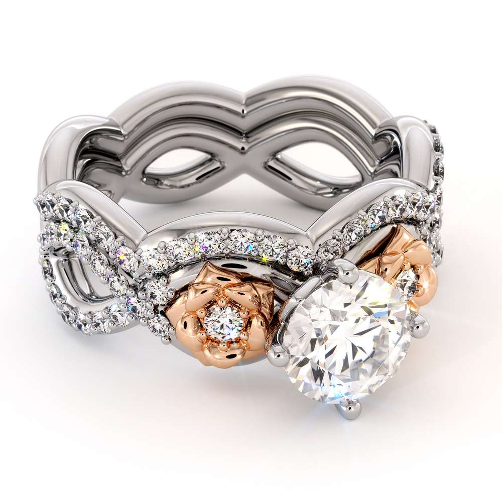 Moissanite Engagement Ring Set 14K White & Rose Gold Ring Unique Flower Bridal Set