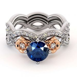 Blue Sapphire Engagement Ring Set 14K White & Rose Gold Ring Unique Flower Bridal Set