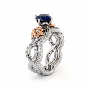 Blue Sapphire Engagement Ring Set 14K White & Rose Gold Ring Unique Flower Bridal Set