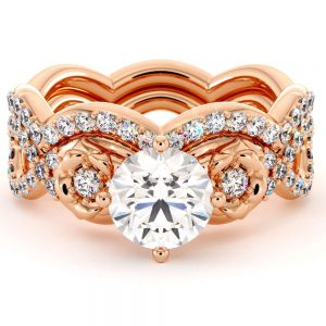 Moissanite Engagement Ring Set 14K Rose Gold Bridal Set Unique Flower Engagement Ring