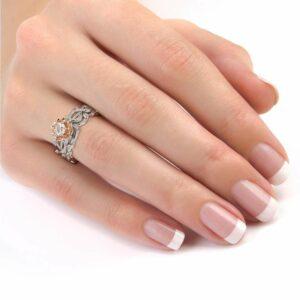 Diamond Engagement Ring Set 14K White & Rose Gold Ring Unique Flower Engagement Ring Set