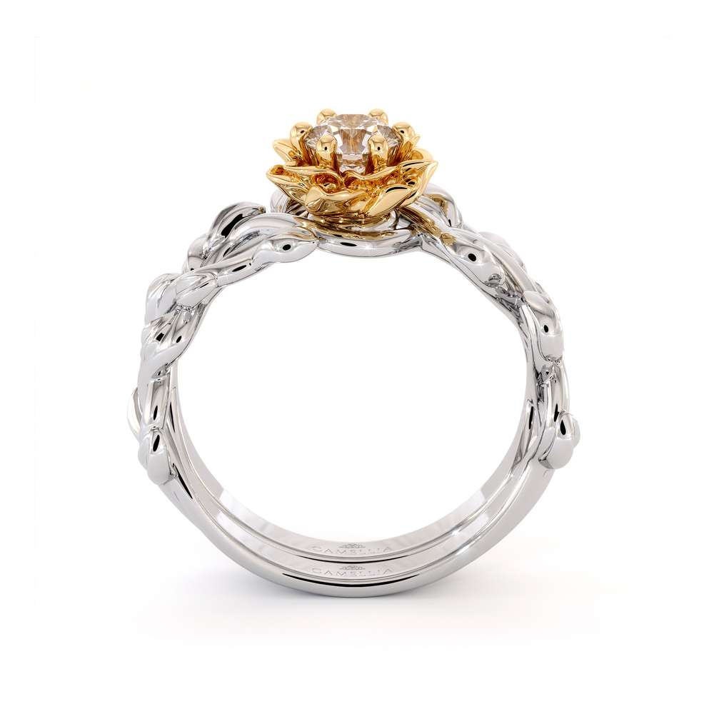 Diamond Engagement Ring Set 14K White & Yellow Gold Ring Unique Flower Engagement Ring Set