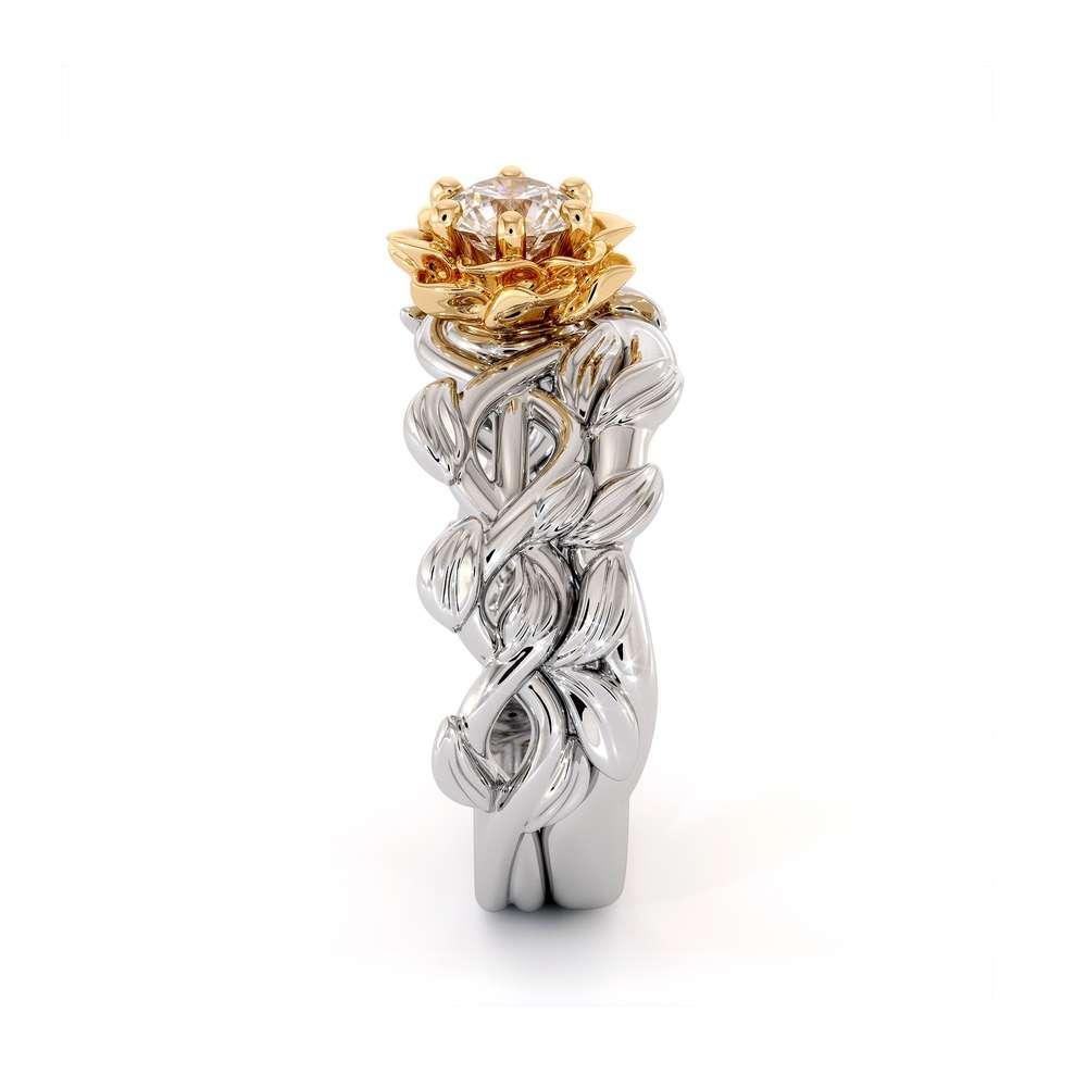 Diamond Engagement Ring Set 14K White & Yellow Gold Ring Unique Flower Engagement Ring Set
