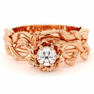 Diamond Engagement Ring Set 14K Rose Gold Rings Unique Flower Engagement Ring Set