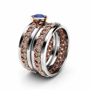 Natural Blue Sapphire Ring Two Tone Wedding Ring Set 14K White and Rose Gold Bridal Set