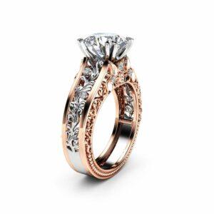 Unique 2 Carat Moissanite Engagement Ring 14K Two Tone Art Deco Gold Ring Vintage Moissanite Engagement Ring