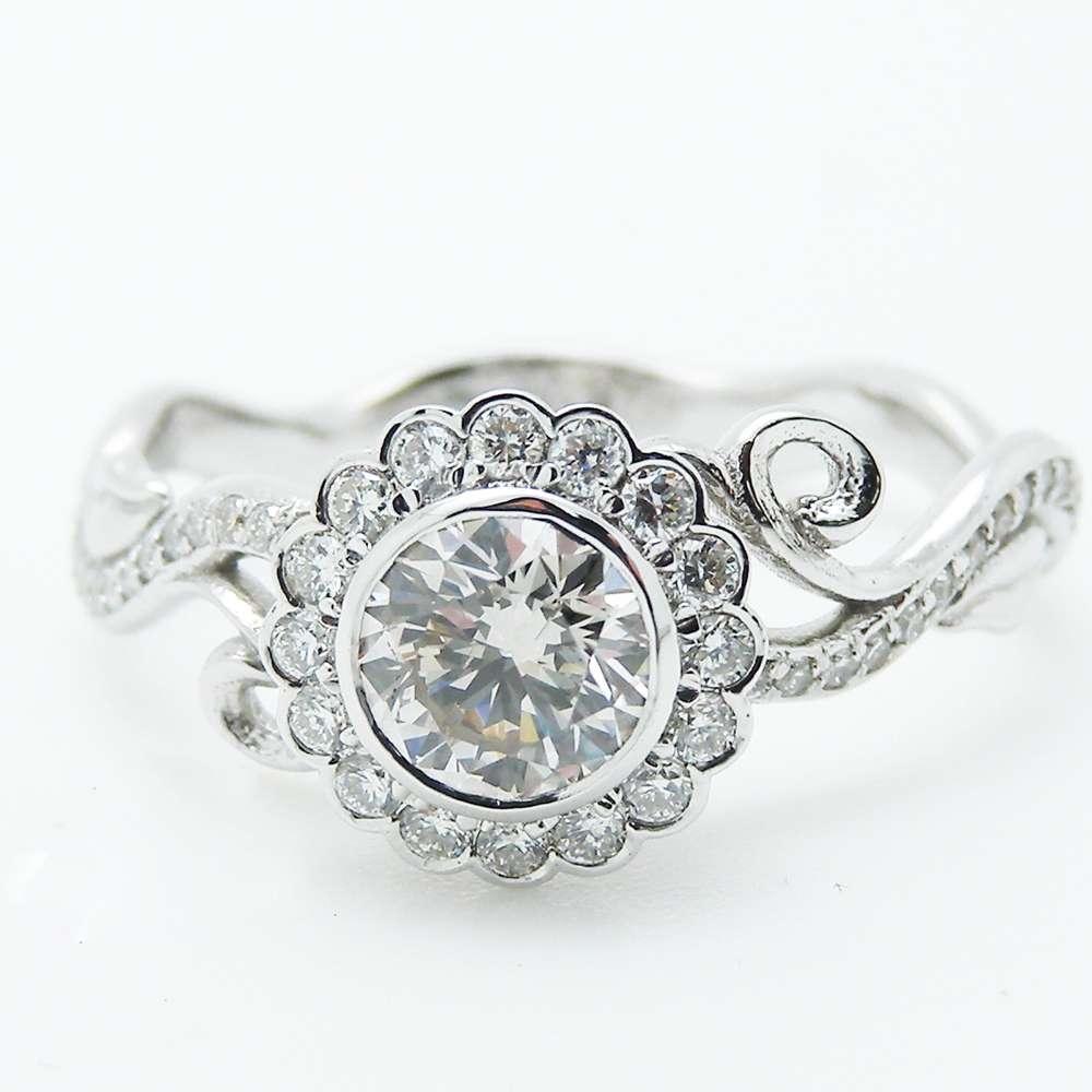 White Gold  Diamond Engagement Ring Diamond Halo Ring Unique Halo Engagement Ring Bezel Engagement Ring