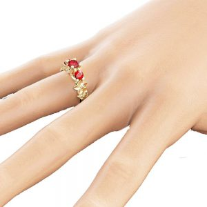 Three Stone Natural Ruby Ring Unique Engagement Ring 14K Yellow Gold Ruby Ring