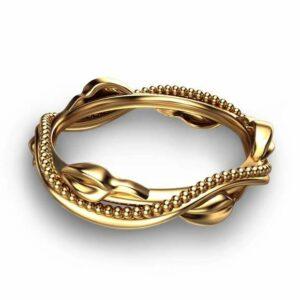 Eternity 14K Yellow Gold Wedding Ring Leaf Wedding Band Yellow Gold Bridal Band